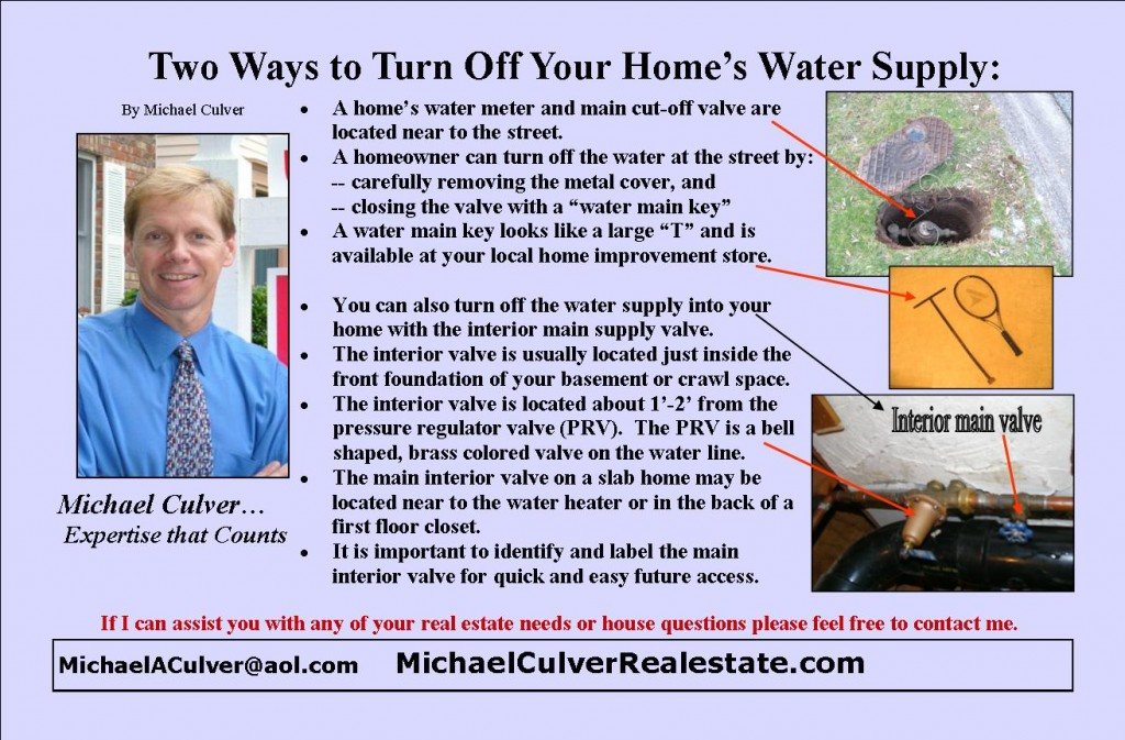 Turning off water supply to the home