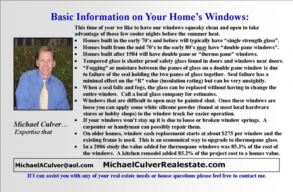 Window facts and tips